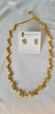 Christina Collection necklace and pierced earring set gold rhinestones flowers