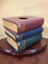 Vtg Ceramic Stacked books tissue box dispenser cover