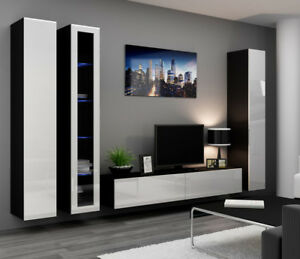 Seattle 1 - black & white entertainment center / living room wall unit