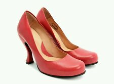 $255 NEW JOHN FLUEVOG ATTENTION PARIS PUMPS 10 RED LEATHER HEELS SHOES