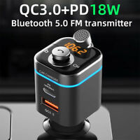 Bluetooth 5.0 Car FM Transmitter Wireless MP3 Radio Adapter Kit 18W USB Charger