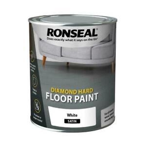 Ronseal Diamond Hard Floor Paint Satin Wood Stone Concrete 750ml White