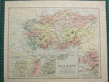 c1890 ANCIENT MAP ~ ASIA MINOR ~ TROAS BOSPORUS THRACIUS IONIA CYPRUS