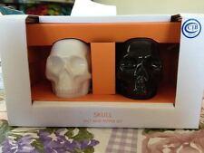 Porcelain Black & White Halloween Skull Salt & Pepper Shaker Shakers Set New Box