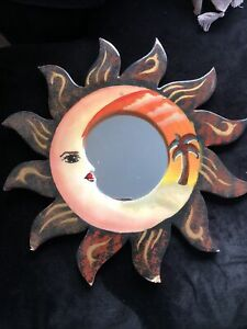 Wall Mirror Colorful Painted Sun Moon Gold, Red, Brown Orange 17""