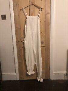 ASOS white linen dungaree jumpsuit