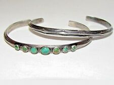 Rare old Navajo Turquoise Coin Silver Cuff, very old marked IM, very rare