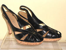 ANNE KLEIN New York Black Patent Leather Sandals Slingbacks Cork Heels Pumps 8M