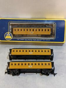 AHM HO VIRGINIA AND TRUCKEE OLD TIME PASSENGER CARS Lot of 3 -One missing trucks