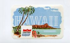 Vintage Airline Luggage Label UNITED AIRLINES HAWAII angled shield