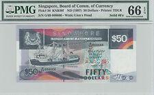 Singapore Ship $50 G/69 666666 Solid Golden GEM UNC PMG 66 EPQ
