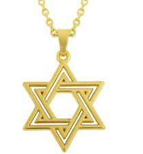 Gold Star of David Necklace Pendant Jewish Judaism 45 to 50cm Chain UK Seller