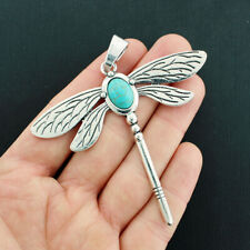 Dragonfly Pendant Charm Antique Silver Tone Imitation Turquoise - SC5819