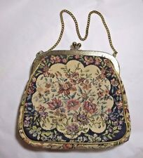 Vintage Julius Resnick JR Miami Tapestry Clutch Purse Floral Gold Tone Trim