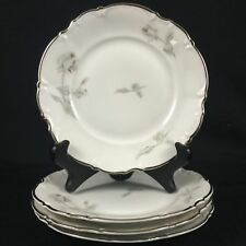 4 VTG Bread/Butter Plates Hutschenreuther Selb Sylvia GRAY ROSE Bavaria Germany