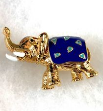NIB CINER MET MUSEUM OF ART MMA 18K GOLD PLATE BLUE ENAMEL ELEPHANT BROOCH PIN