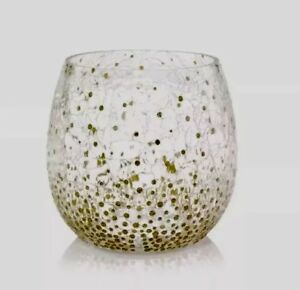 YANKEE CANDLE HOLIDAY SPARKLES CRACKLE GLASS JAR CANDLE HOLDER NEW RETIRED ITEM