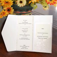 10 POCKETFOLD INVITATIONS INARI DL BRIGHT WHITE BRODERIE ENV & BLANK INSERTS