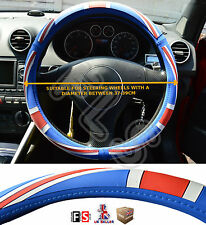 UNIVERSAL FAUX LEATHER STEERING WHEEL COVER BRITISH FLAG RED/BLUE-Austin