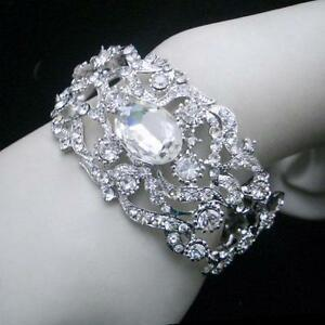 Statement Floral Oval Crystal Hinged Bracelet Wedding Party Bridesmaid Gift