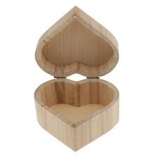 Heart Shape Natural Unfinished Wood Storage Box Case for Kids Toys DIY Craft