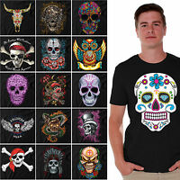 Sugar Skulls T-SHIRT Day Of The Dead Shirts Halloween Dia De Los Muertos BLACK