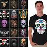 Sugar Skulls T-SHIRT Day Of The Dead Shirts Halloween Dia De Los Muertos BLACK