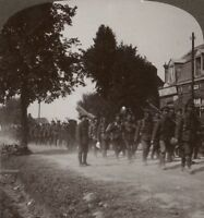 WW1 Stereoview. Dry & Dusty Leicesters Pass Small Cafe En Route to The Trenches