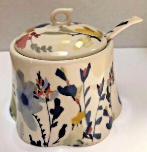 Anthropologie Jen Garrido Wildflower Study Sugar Pot with Spoon