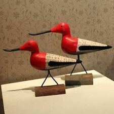 Set of 2 Seabird Love Bird Figurines Statue Red Color Wedding Gift Home Decor