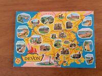 Unused Map Postcard of Devon by Cotman-Color