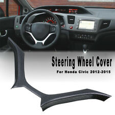 For Honda Civic 2012-2015 Steering Wheel Cover Panel Trim Carbon Fiber Color