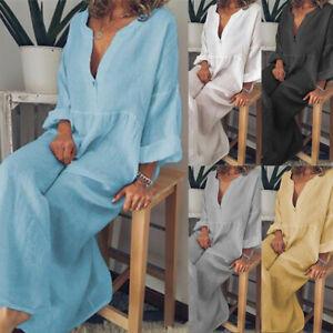 Damen Lang Leinen Kaftan Kleid Maxikleid Sommer Hemdkleid Tunika Freizeitkleid J