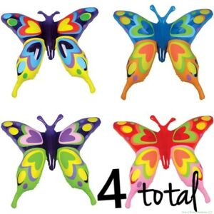 (4) Butterfly Inflatable Blow Ups ~ Fun Toy Party Bright Colorful Butterflies