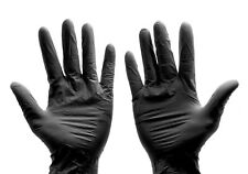 100-piece Black Nitrile Rubber Gloves, Latex & Powder-Free in S/M/L/XL