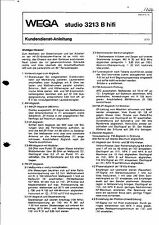 Wega Service Manual für studio 3213 B hifi