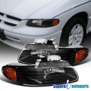 For 1996-2000 Caravan Chrysler Town&Country Black Headlight+Lamp