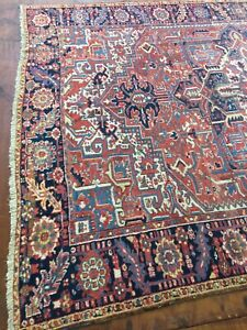Antique Used Old Per sian Handmade Wool Rug Carpet Size:11 Ft By 7.8 Ft