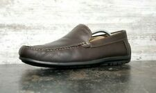 Mens Ecco Slip On Loafers Shoes Sz 10 44 M Used Brown Leather Plain Toe Casual
