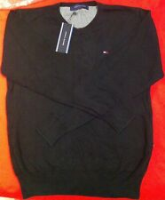 ► NEUF ! PULL COL V MARQUE TOMMY HILFIGER NOIR XS 100% COTTON MODE LUXE 2020 ! ◄