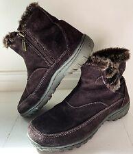 KHOMBU Gracie Women Ankle Boots 7.5 Dark Brown Suede Faux Fur Lining Zip