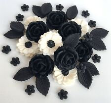 Black/Ivory Roses Bouquet Wedding Cake Decorations Sugar Flowers Cupcake Toppers