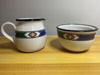 2 Piece Set - Noritake Stoneware 8458 Kachina Creamer Pitcher & Sugar Bowl