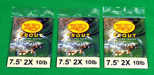 Rio  Trout   Tapered  Fly  Fishing  Leaders  3  –  New  Lot   with  Loop  7.5  F
