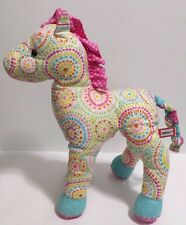 """DOUGLAS Plush Horse Quilted Pink and Blue Multi-Colored Circles, Stripes 11"""" EUC"""