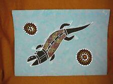 AUS-25 Crocodile gray Australian Native Aboriginal PAINTING dot Artwork T Morgan