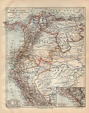 PERU ECUADOR KOLUMBIEN UND VENEZUELA Panama Amazonas Trinidad LANDKARTE  1905