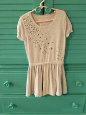 Justice Girl's Silver Sweater Dress W/Gem Stones Size 8 Cute Excellent Shape