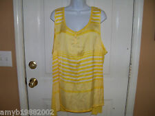 George  Bikini Yellow & White Striped Shirt Size 3X (22W-24W) Women's NEW HTF