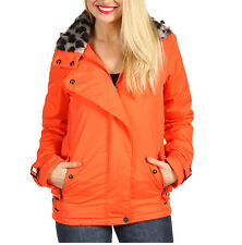 NWT Fox Cocoa Women's Fashion Jacket Leopard Faux Fur Collar Coat Orange XS -